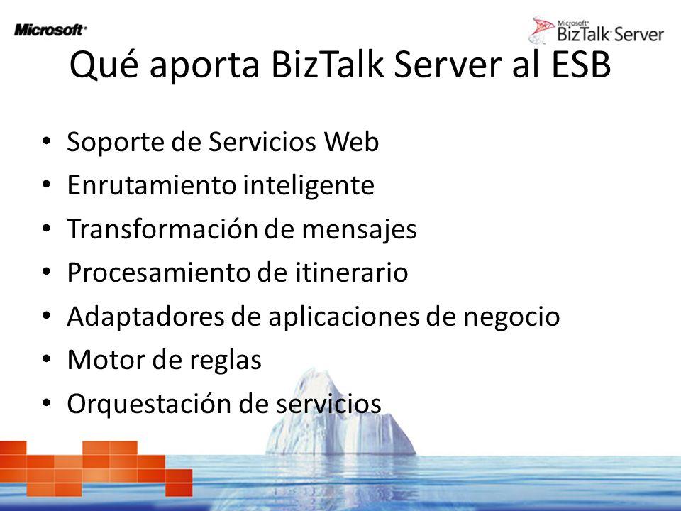 Qué aporta BizTalk Server al ESB Soporte de Servicios Web Enrutamiento inteligente Transformación de mensajes Procesamiento de itinerario Adaptadores
