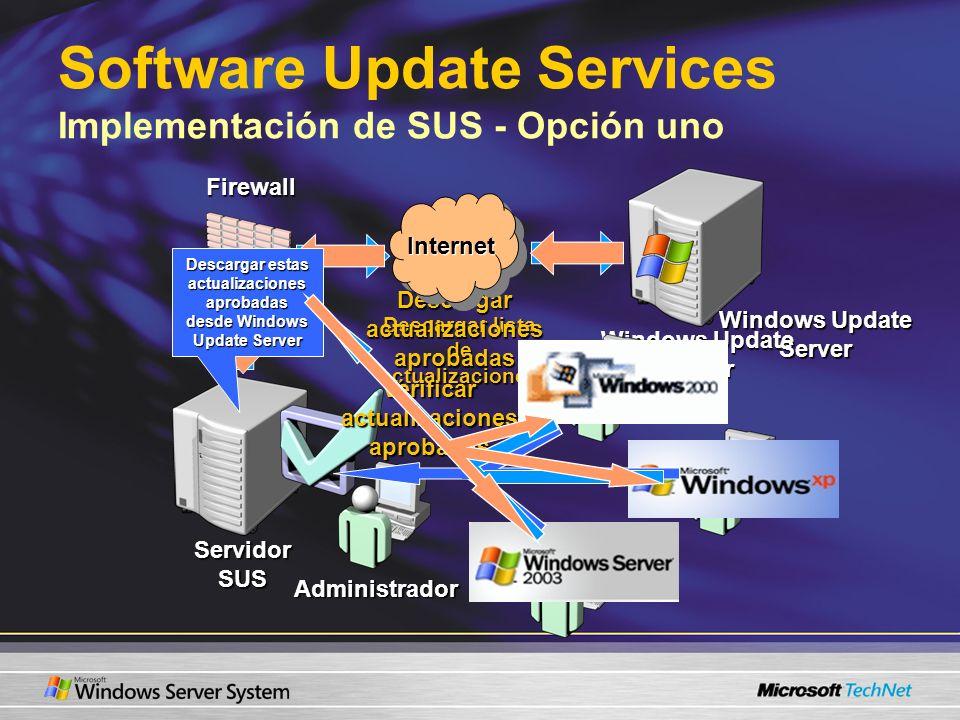 Software Update Services Implementación de SUS - Opción uno Descargar lista de actualizaciones Descargar actualizaciones aprobadas Internet Servidor S