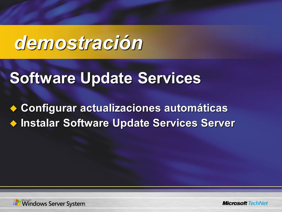 Software Update Services Configurar actualizaciones automáticas Configurar actualizaciones automáticas Instalar Software Update Services Server Instalar Software Update Services Server demostración demostración
