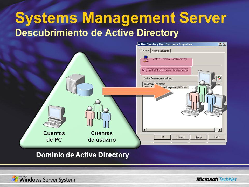 SMS Systems Management Server Descubrimiento de Active Directory Dominio de Active Directory Cuentas de usuario Cuentas de PC