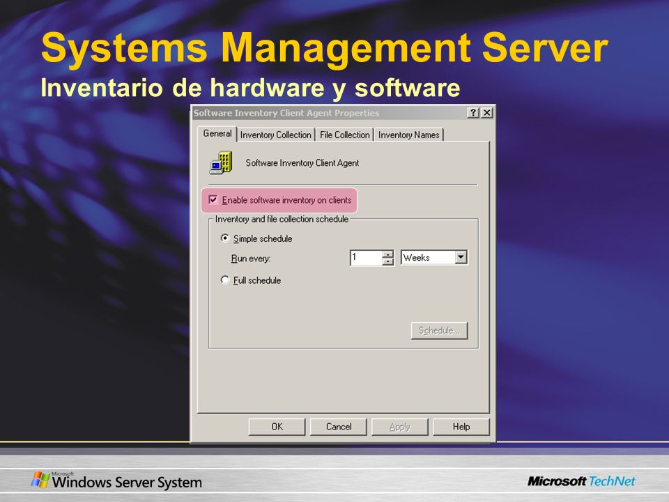 Systems Management Server Inventario de hardware y software
