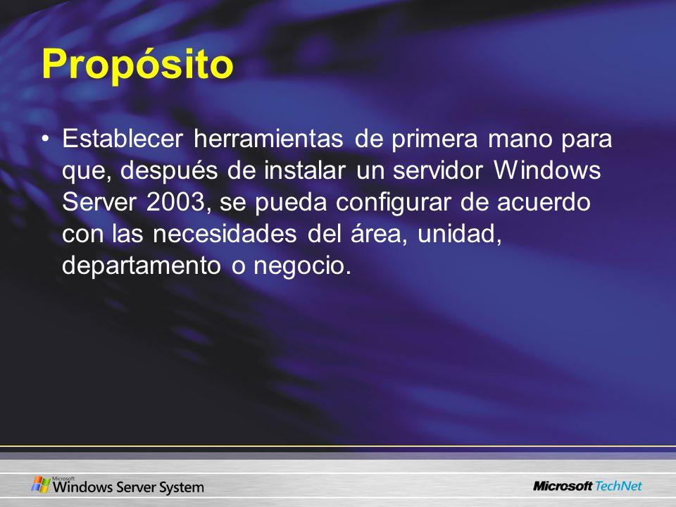 Propósito Establecer herramientas de primera mano para que, después de instalar un servidor Windows Server 2003, se pueda configurar de acuerdo con las necesidades del área, unidad, departamento o negocio.