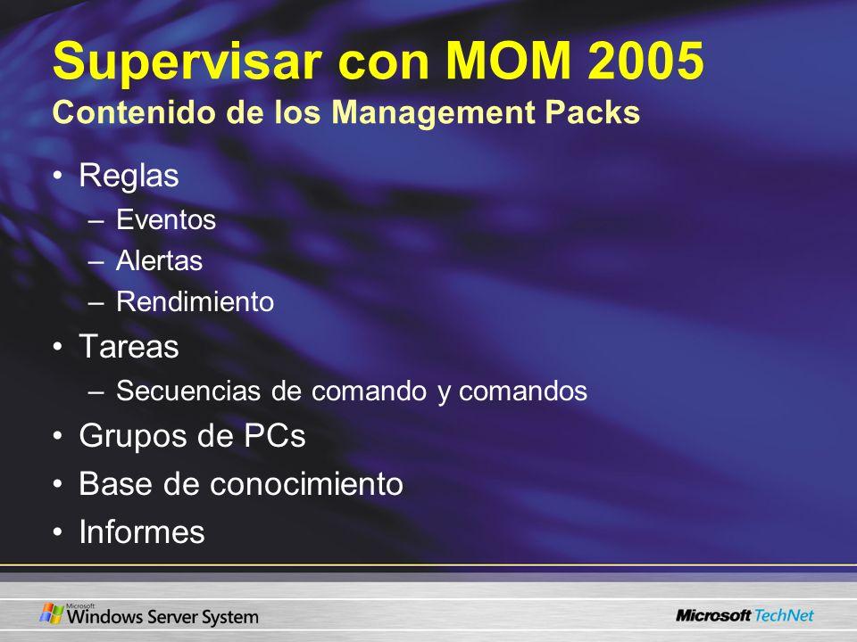 Supervisar con MOM 2005 Contenido de los Management Packs Reglas –Eventos –Alertas –Rendimiento Tareas –Secuencias de comando y comandos Grupos de PCs Base de conocimiento Informes