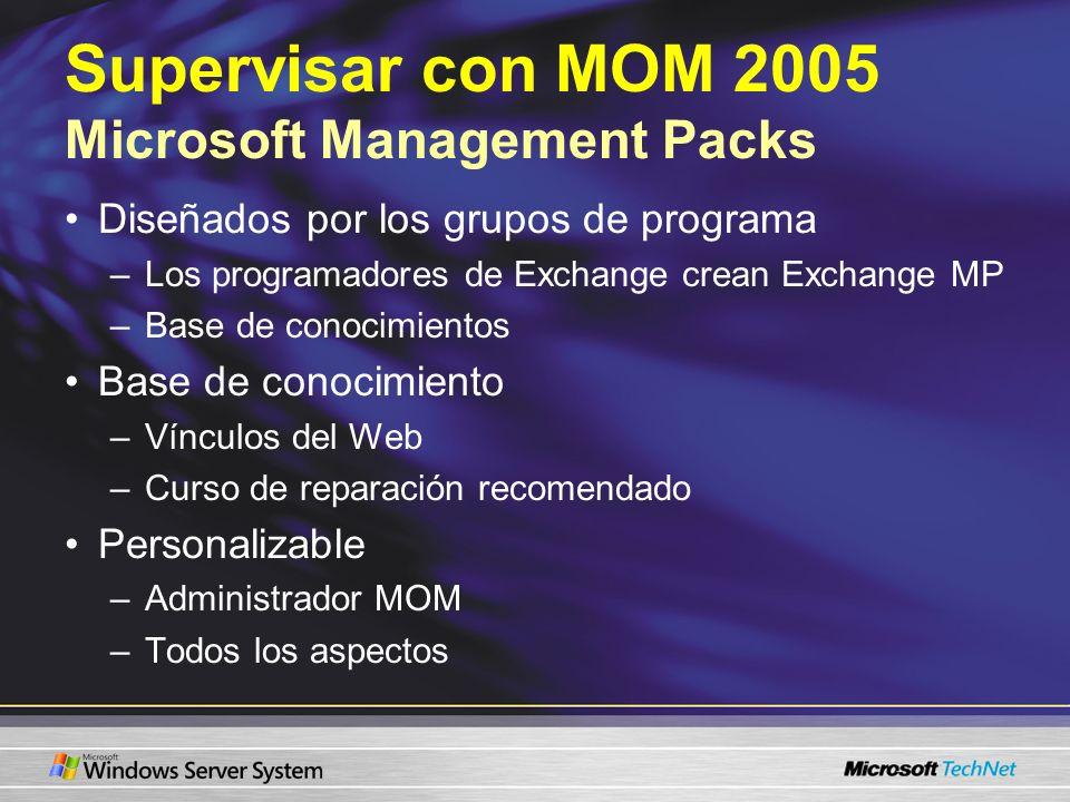 Supervisar con MOM 2005 Microsoft Management Packs Diseñados por los grupos de programa –Los programadores de Exchange crean Exchange MP –Base de conocimientos Base de conocimiento –Vínculos del Web –Curso de reparación recomendado Personalizable –Administrador MOM –Todos los aspectos