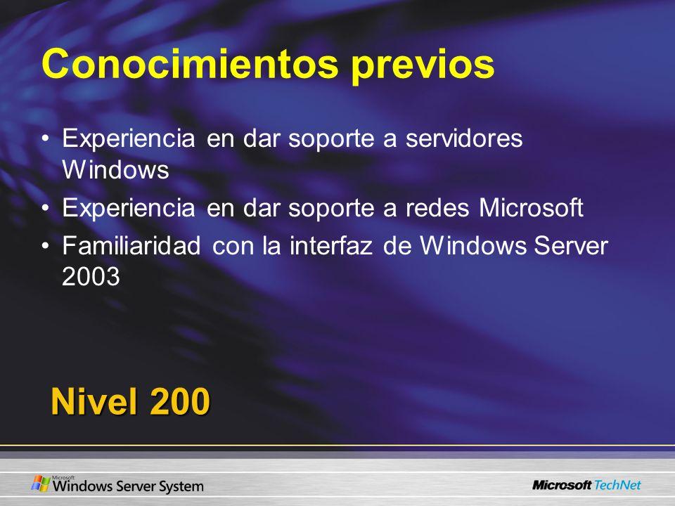 Conocimientos previos Experiencia en dar soporte a servidores Windows Experiencia en dar soporte a redes Microsoft Familiaridad con la interfaz de Windows Server 2003 Nivel 200