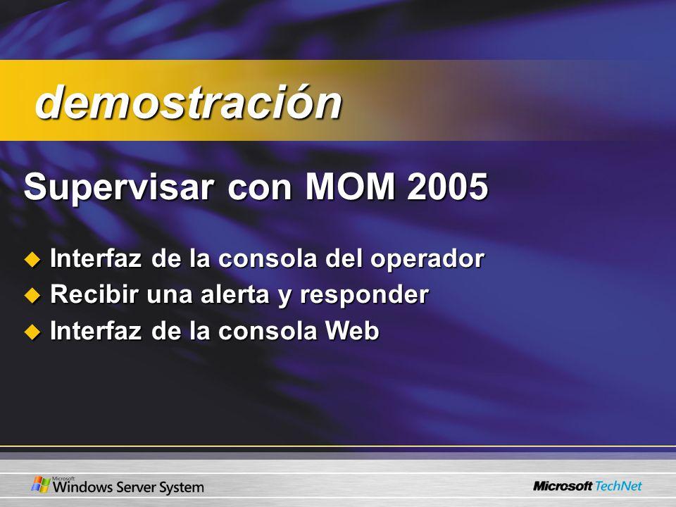 Supervisar con MOM 2005 Interfaz de la consola del operador Interfaz de la consola del operador Recibir una alerta y responder Recibir una alerta y responder Interfaz de la consola Web Interfaz de la consola Web demostración demostración