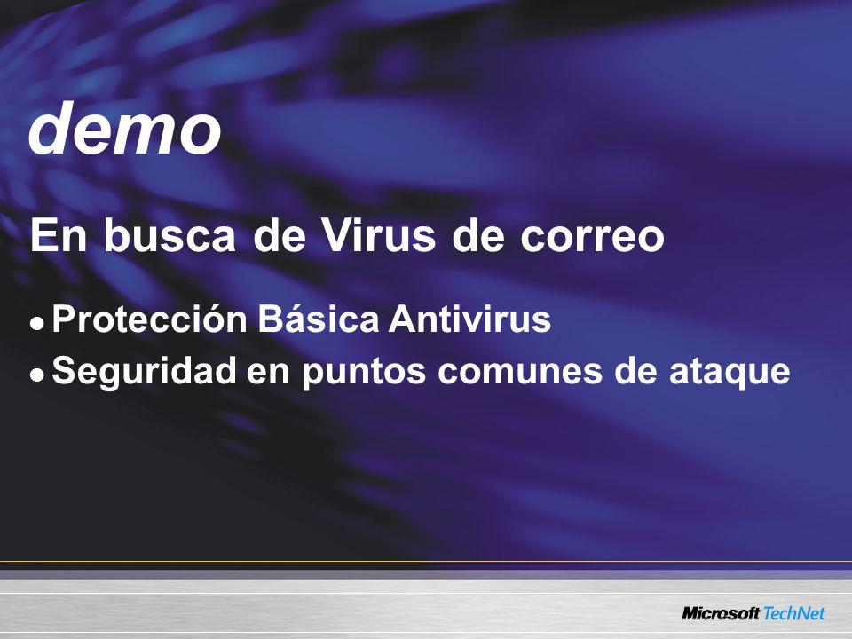 Demo En busca de Virus de correo Protección Básica Antivirus Seguridad en puntos comunes de ataque demo