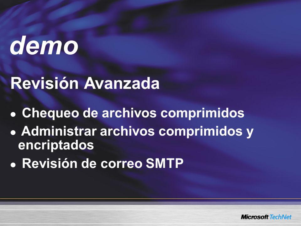 Demo Revisión Avanzada Chequeo de archivos comprimidos Administrar archivos comprimidos y encriptados Revisión de correo SMTP demo