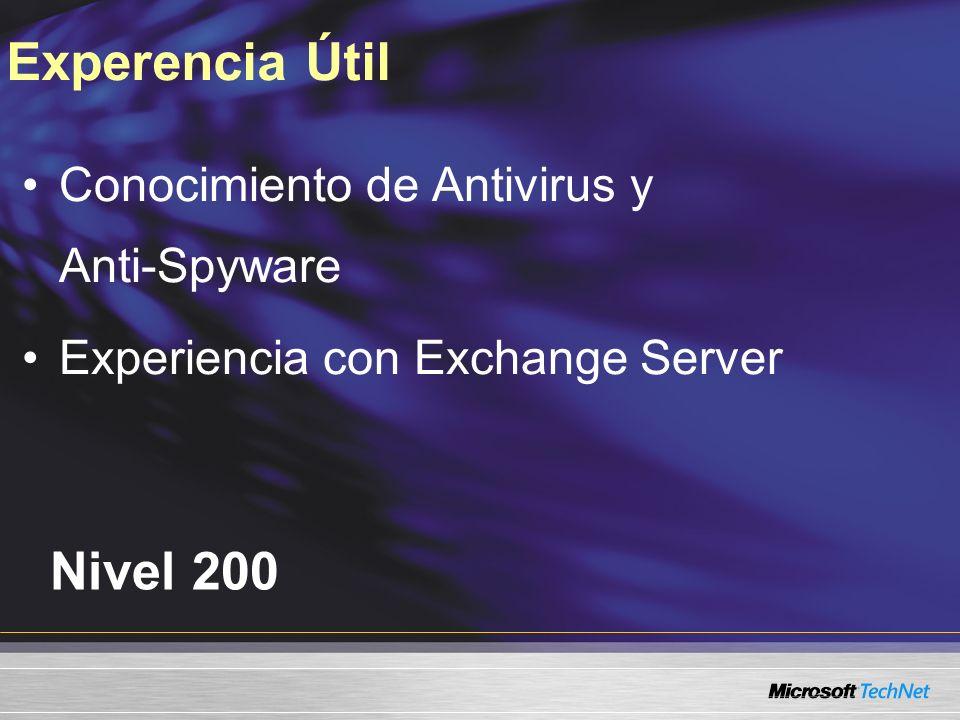 Necesidad de seguridad en correo electrónico Revisando correo con Antigen para Exchange Server Agenda