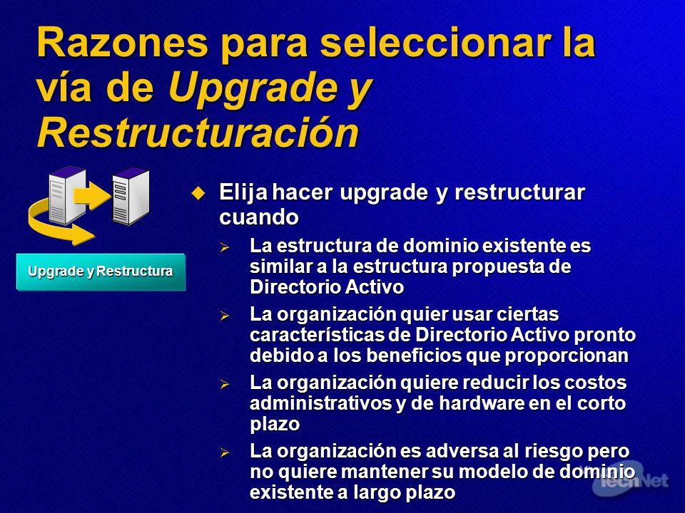 Razones para seleccionar la vía de Upgrade y Restructuración Elija hacer upgrade y restructurar cuando Elija hacer upgrade y restructurar cuando La es
