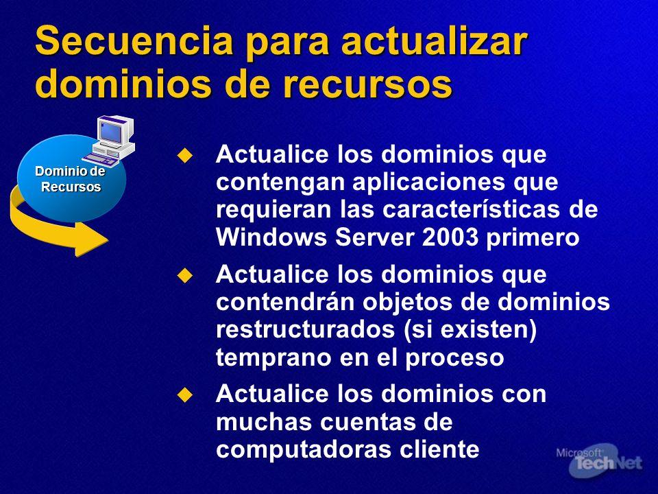 Secuencia para actualizar dominios de recursos Actualice los dominios que contengan aplicaciones que requieran las características de Windows Server 2
