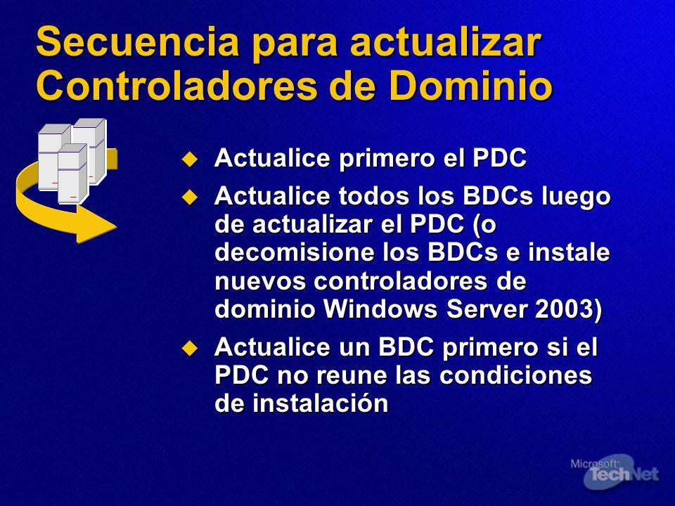 Secuencia para actualizar Controladores de Dominio Actualice primero el PDC Actualice primero el PDC Actualice todos los BDCs luego de actualizar el P