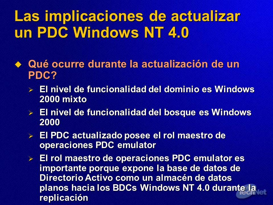 Las implicaciones de actualizar un PDC Windows NT 4.0 Qué ocurre durante la actualización de un PDC? Qué ocurre durante la actualización de un PDC? El