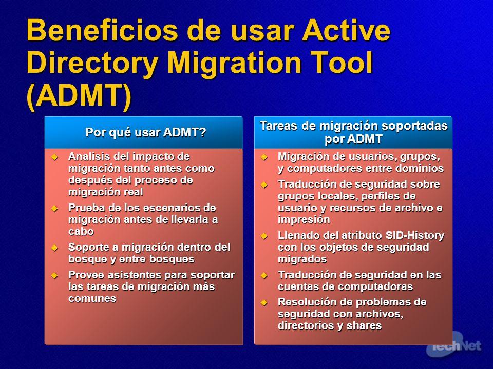 Beneficios de usar Active Directory Migration Tool (ADMT) Por qué usar ADMT? Por qué usar ADMT? Analisis del impacto de migración tanto antes como des