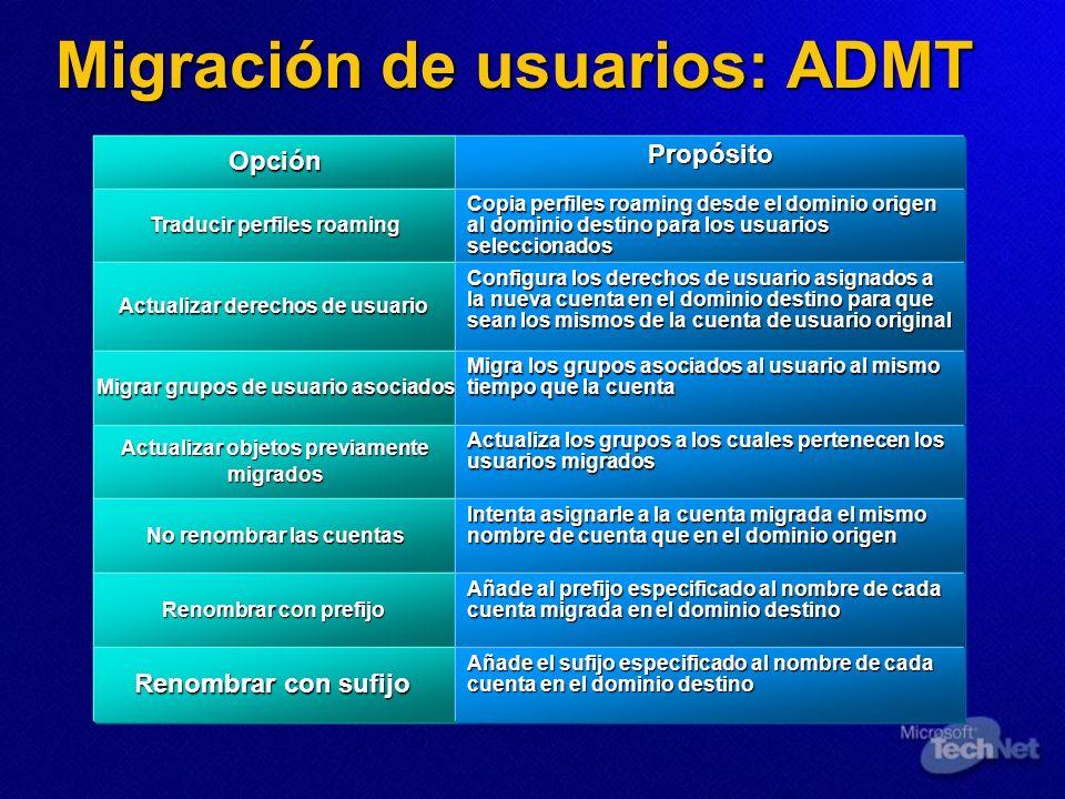 Migración de usuarios: ADMT OpciónPropósito Traducir perfiles roaming Copia perfiles roaming desde el dominio origen al dominio destino para los usuar