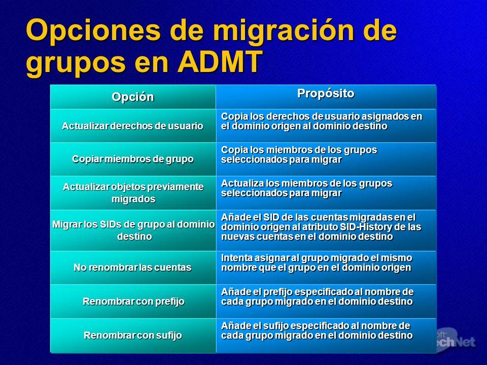 Opciones de migración de grupos en ADMT OpciónPropósito Actualizar derechos de usuario Copia los derechos de usuario asignados en el dominio origen al