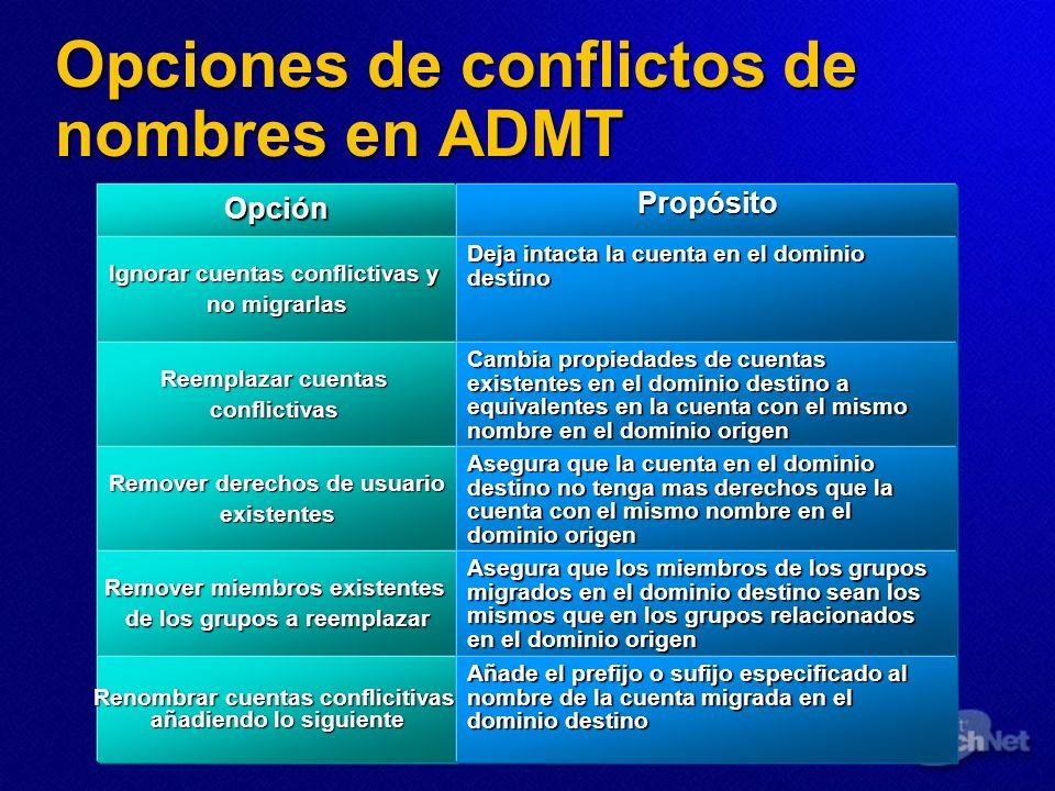 Opciones de conflictos de nombres en ADMT OpciónPropósito Ignorar cuentas conflictivas y no migrarlas Deja intacta la cuenta en el dominio destino Ree