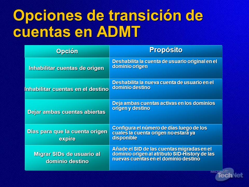 Opciones de transición de cuentas en ADMT OpciónPropósito Inhabilitar cuentas de origen Deshabilita la cuenta de usuario original en el dominio origen
