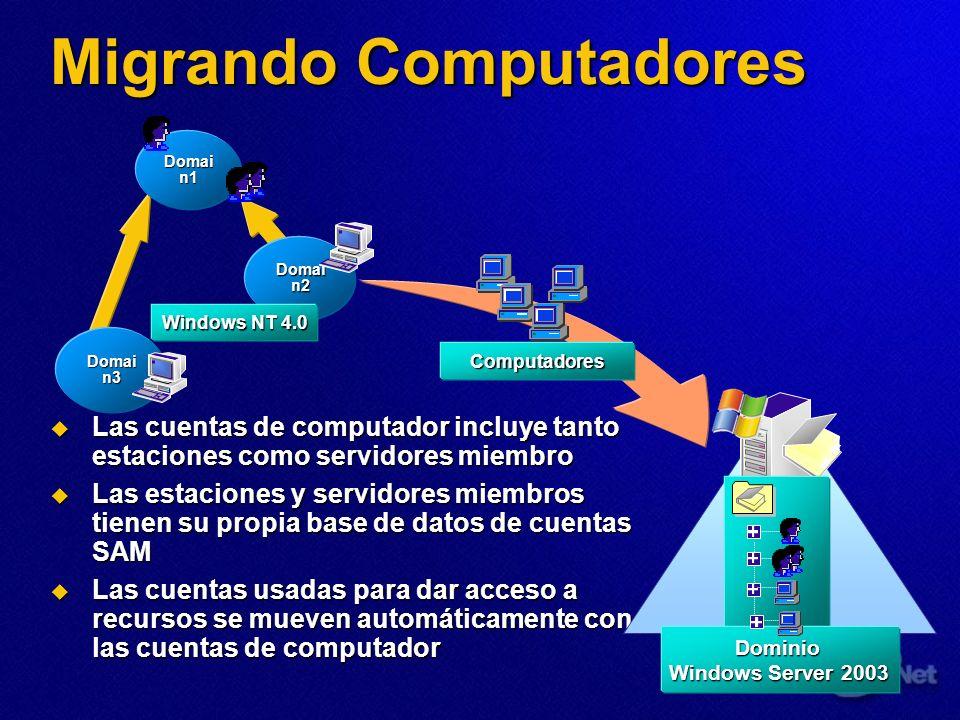Migrando Computadores Computadores Las cuentas de computador incluye tanto estaciones como servidores miembro Las cuentas de computador incluye tanto
