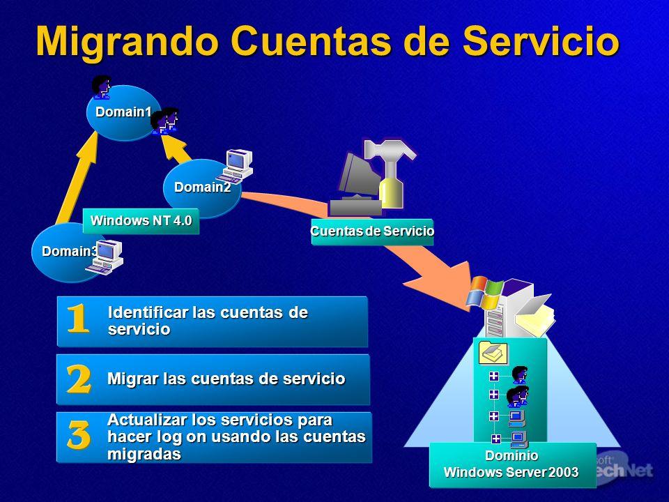 Migrando Cuentas de Servicio Identificar las cuentas de servicio Migrar las cuentas de servicio Actualizar los servicios para hacer log on usando las