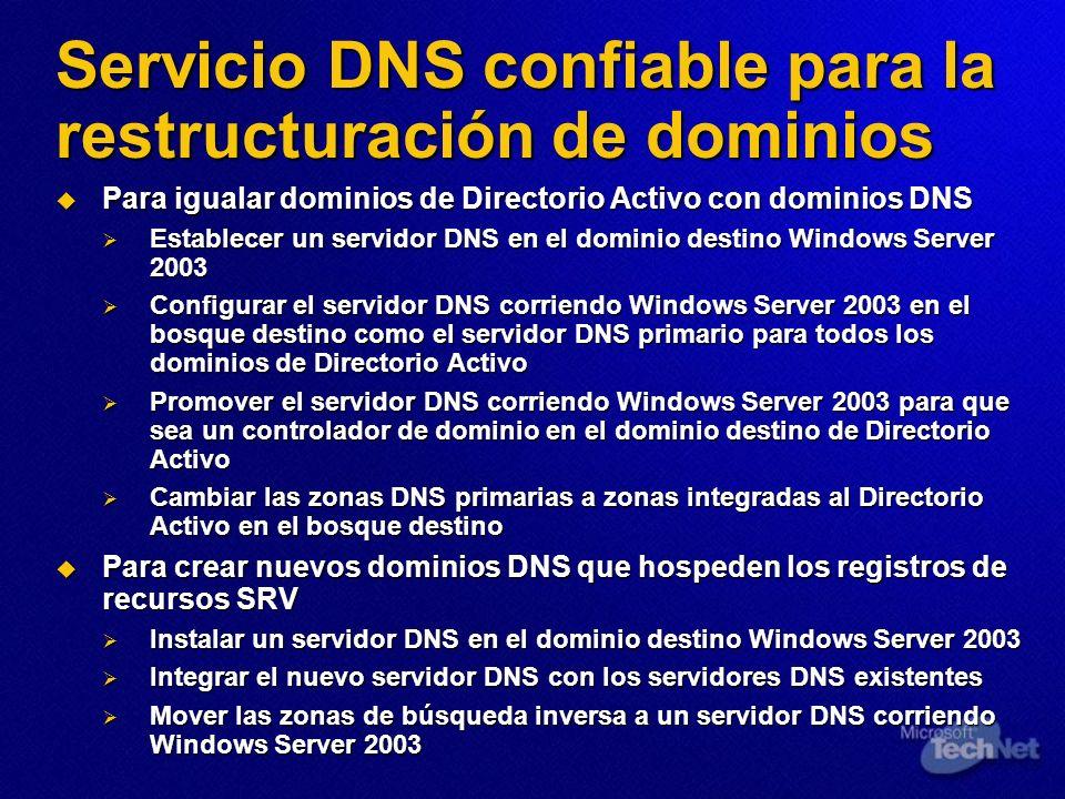 Servicio DNS confiable para la restructuración de dominios Para igualar dominios de Directorio Activo con dominios DNS Para igualar dominios de Direct