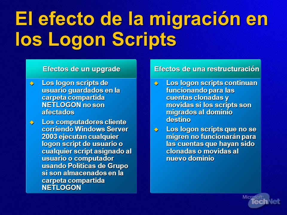 El efecto de la migración en los Logon Scripts Efectos de un upgrade Efectos de un upgrade Los logon scripts de usuario guardados en la carpeta compar