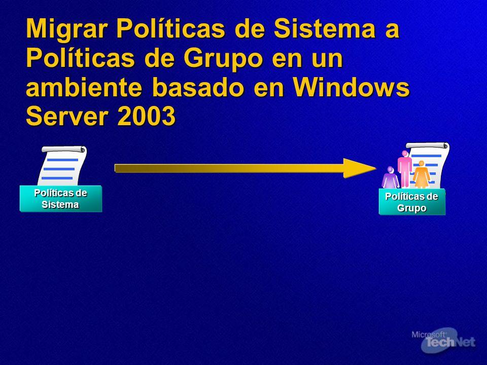 Migrar Políticas de Sistema a Políticas de Grupo en un ambiente basado en Windows Server 2003 Políticas de Sistema Políticas de Grupo