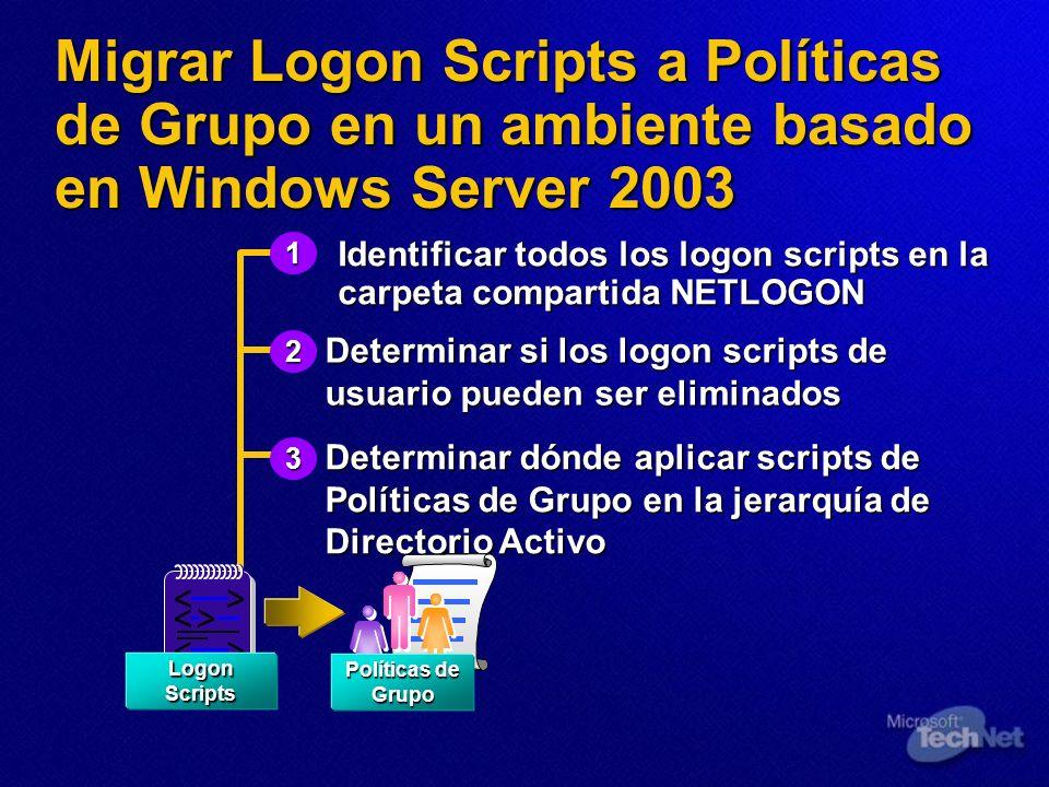 Migrar Logon Scripts a Políticas de Grupo en un ambiente basado en Windows Server 2003 Identificar todos los logon scripts en la carpeta compartida NE