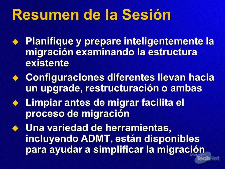 Resumen de la Sesión Planifique y prepare inteligentemente la migración examinando la estructura existente Planifique y prepare inteligentemente la mi