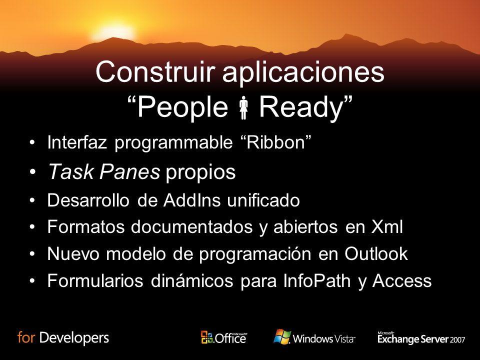 Construir aplicaciones People Ready Interfaz programmable Ribbon Task Panes propios Desarrollo de AddIns unificado Formatos documentados y abiertos en