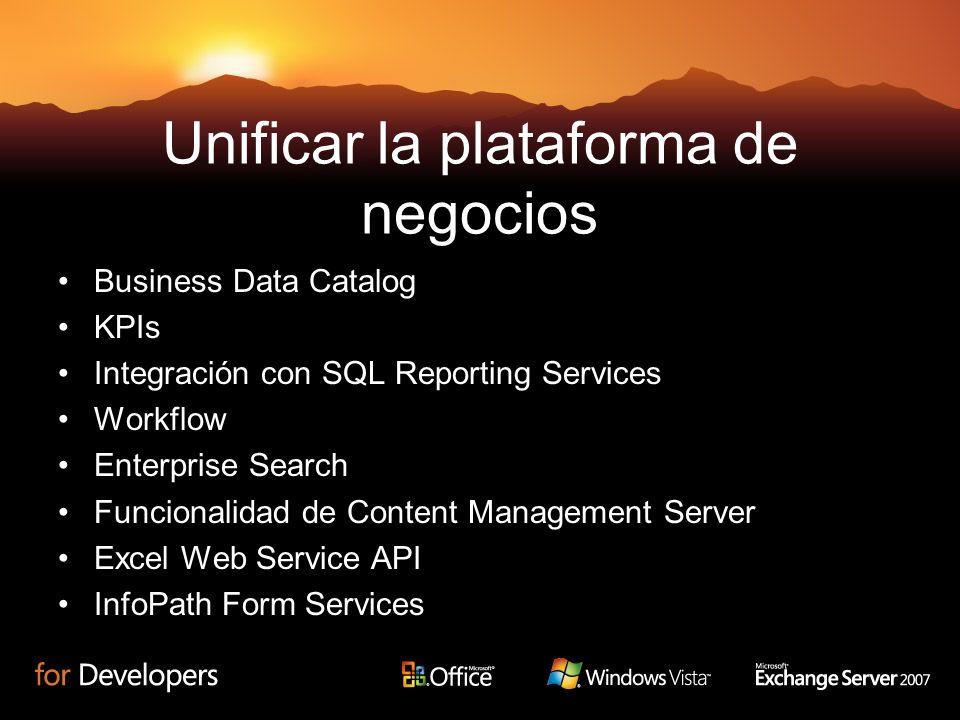 Unificar la plataforma de negocios Business Data Catalog KPIs Integración con SQL Reporting Services Workflow Enterprise Search Funcionalidad de Conte