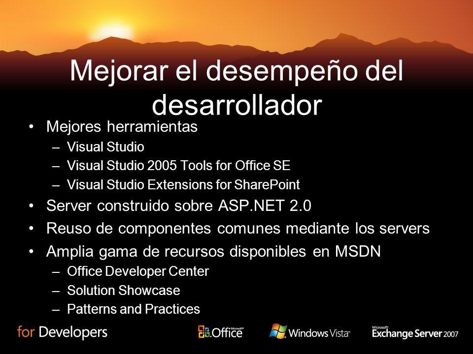 Mejorar el desempeño del desarrollador Mejores herramientas –Visual Studio –Visual Studio 2005 Tools for Office SE –Visual Studio Extensions for Share