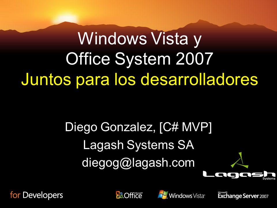 Windows Vista y Office System 2007 Juntos para los desarrolladores Diego Gonzalez, [C# MVP] Lagash Systems SA diegog@lagash.com