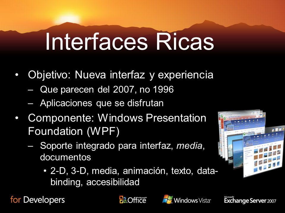 Objetivo: Nueva interfaz y experiencia –Que parecen del 2007, no 1996 –Aplicaciones que se disfrutan Componente: Windows Presentation Foundation (WPF)
