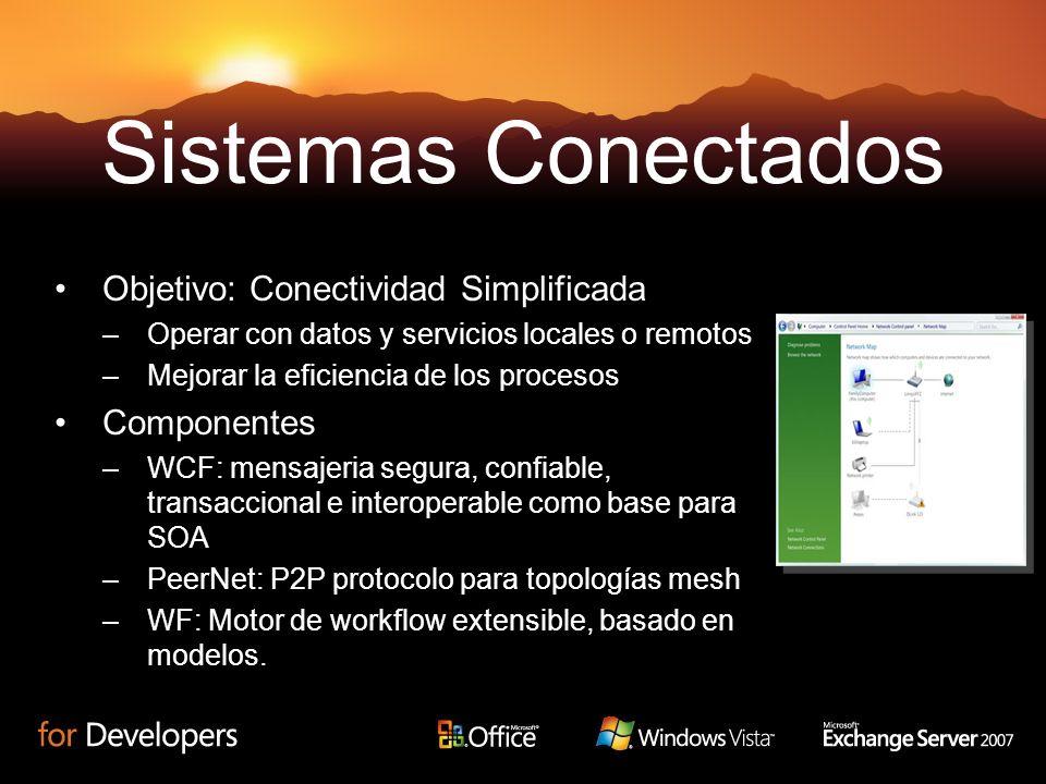 Objetivo: Conectividad Simplificada –Operar con datos y servicios locales o remotos –Mejorar la eficiencia de los procesos Componentes –WCF: mensajeria segura, confiable, transaccional e interoperable como base para SOA –PeerNet: P2P protocolo para topologías mesh –WF: Motor de workflow extensible, basado en modelos.