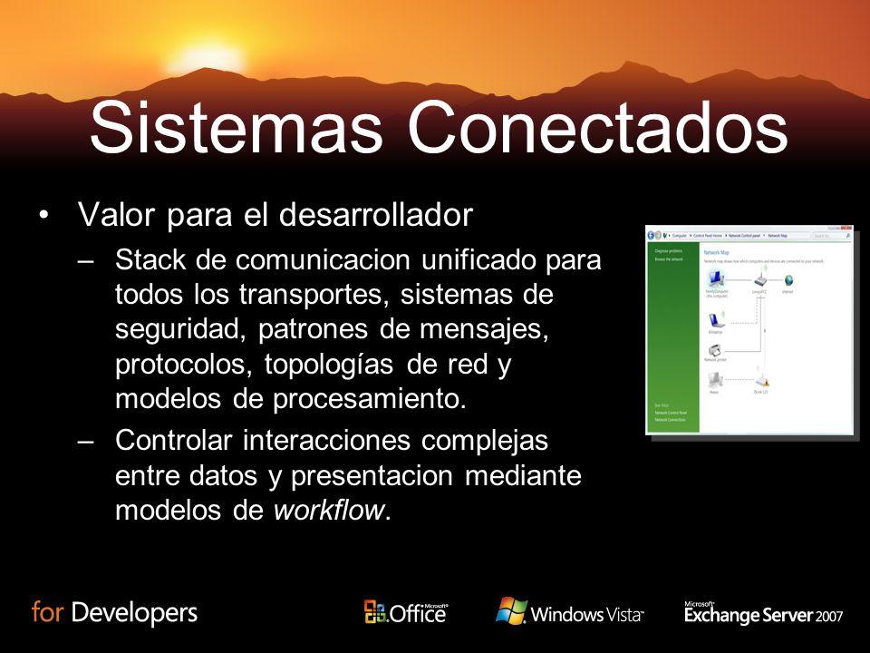 Valor para el desarrollador –Stack de comunicacion unificado para todos los transportes, sistemas de seguridad, patrones de mensajes, protocolos, topo