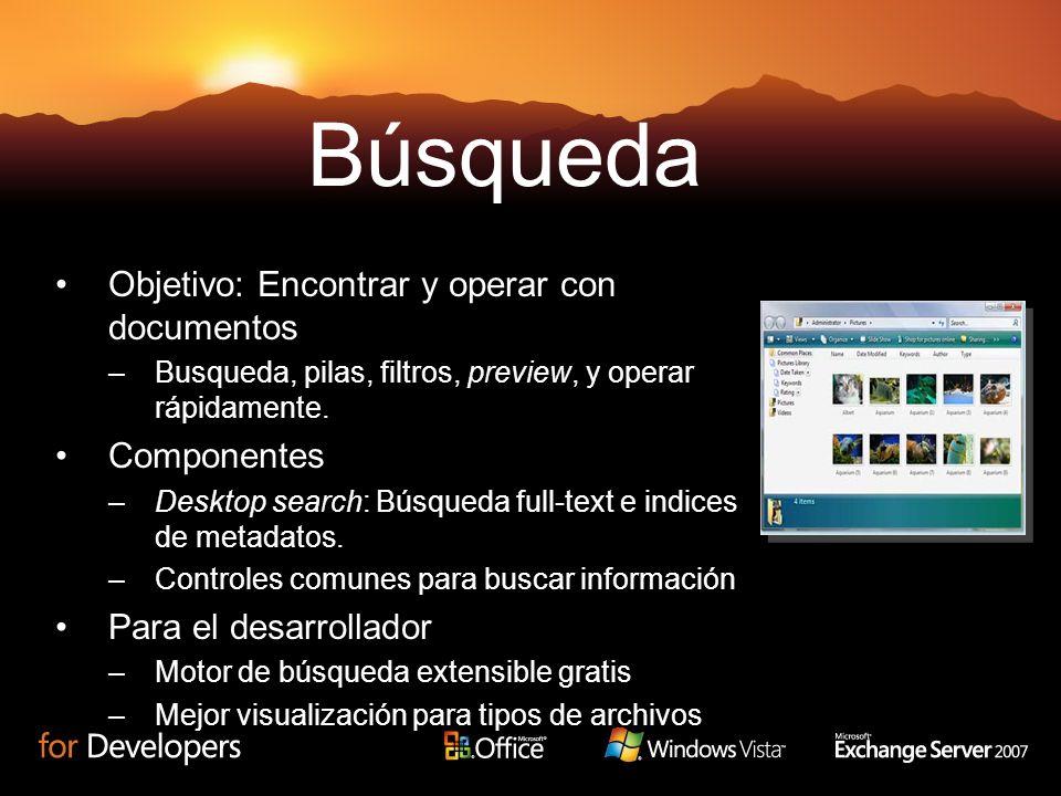 Objetivo: Encontrar y operar con documentos –Busqueda, pilas, filtros, preview, y operar rápidamente. Componentes –Desktop search: Búsqueda full-text