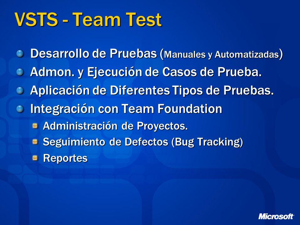VSTS - Team Test Desarrollo de Pruebas ( Manuales y Automatizadas ) Admon. y Ejecución de Casos de Prueba. Aplicación de Diferentes Tipos de Pruebas.