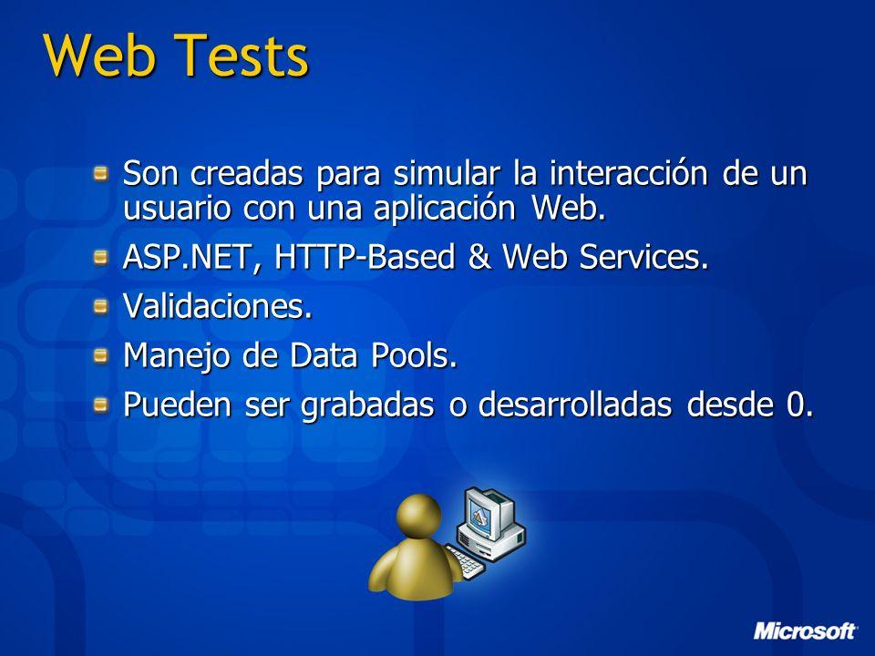 Web Tests Son creadas para simular la interacción de un usuario con una aplicación Web. ASP.NET, HTTP-Based & Web Services. Validaciones. Manejo de Da