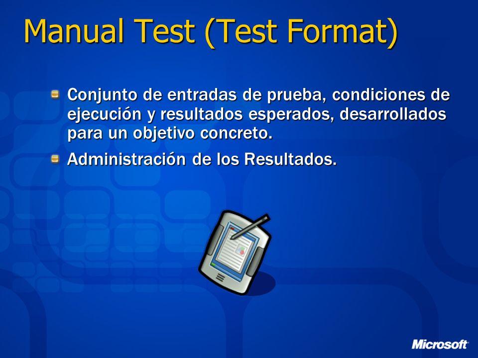 Manual Test (Test Format) Conjunto de entradas de prueba, condiciones de ejecución y resultados esperados, desarrollados para un objetivo concreto. Ad