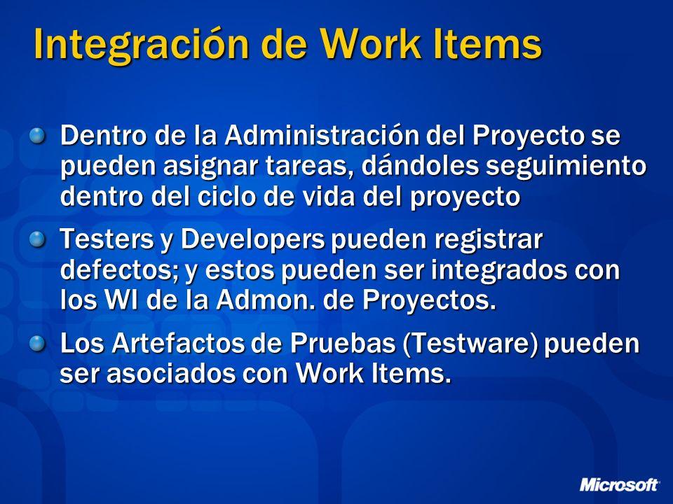 Integración de Work Items Dentro de la Administración del Proyecto se pueden asignar tareas, dándoles seguimiento dentro del ciclo de vida del proyect