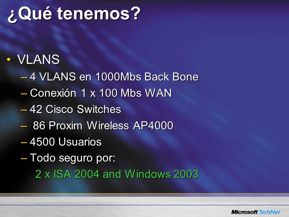 ¿Qué tenemos? VLANSVLANS –4 VLANS en 1000Mbs Back Bone –Conexión 1 x 100 Mbs WAN –42 Cisco Switches – 86 Proxim Wireless AP4000 –4500 Usuarios –Todo s