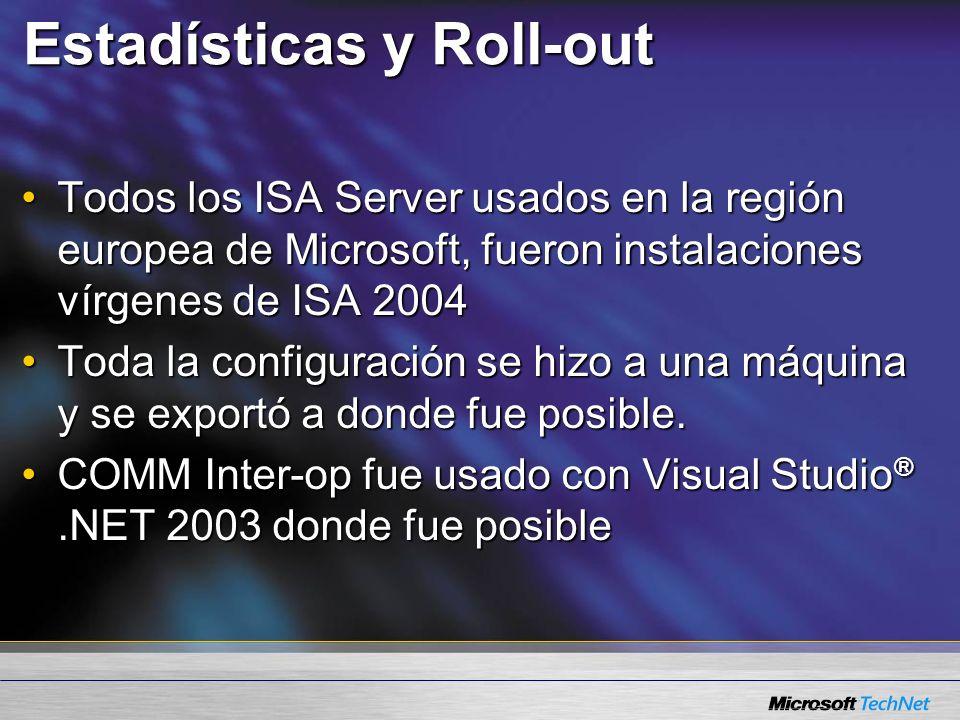 Estadísticas y Roll-out Todos los ISA Server usados en la región europea de Microsoft, fueron instalaciones vírgenes de ISA 2004Todos los ISA Server usados en la región europea de Microsoft, fueron instalaciones vírgenes de ISA 2004 Toda la configuración se hizo a una máquina y se exportó a donde fue posible.Toda la configuración se hizo a una máquina y se exportó a donde fue posible.