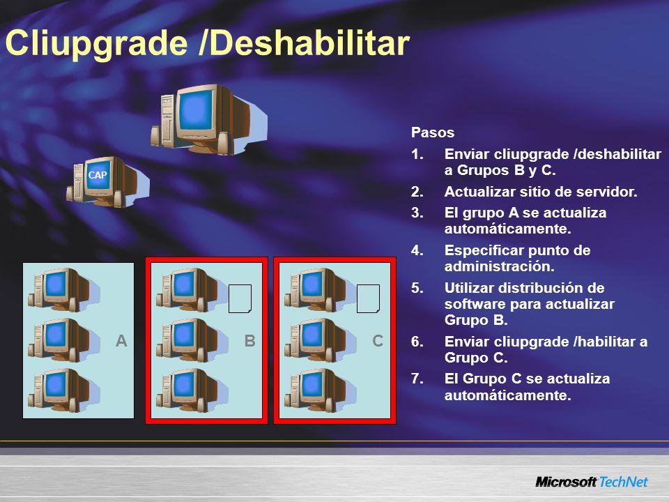 Cliupgrade /Deshabilitar Pasos 1.Enviar cliupgrade /deshabilitar a Grupos B y C. 2.Actualizar sitio de servidor. 3.El grupo A se actualiza automáticam