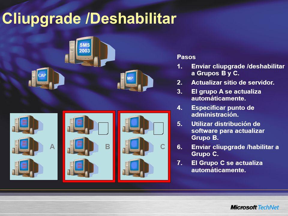 Cliupgrade /Deshabilitar A Pasos 1.Enviar cliupgrade /deshabilitar a Grupos B y C. 2.Actualizar sitio de servidor. 3.El grupo A se actualiza automátic