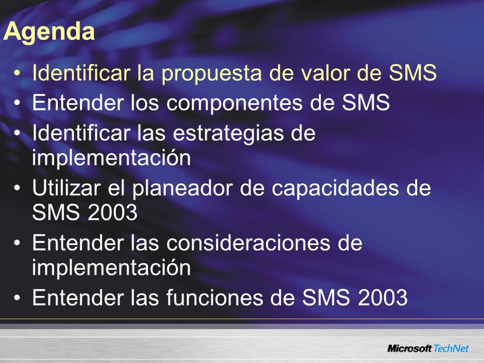Actualización de SMS 2.0 Limpiar y cargar Enfoque como si no hubiera administración alguna Actualización en el sitio o de lado a lado Planear hojas de trabajo Planeador de capacidades de SMS 2003 Asistente para preparación de la implementación setup.exe /testdbupgrade SMS 2.0 LaptopsEscritoriosServidores