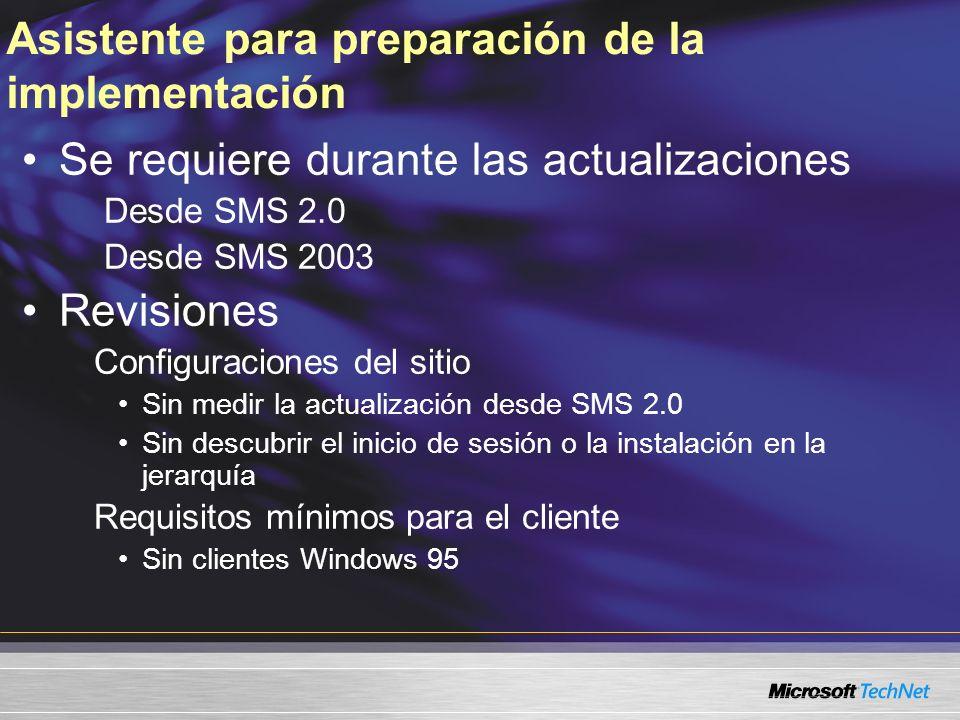 Asistente para preparación de la implementación Se requiere durante las actualizaciones Desde SMS 2.0 Desde SMS 2003 Revisiones Configuraciones del si