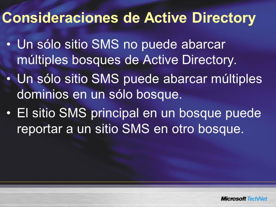 Consideraciones de Active Directory Un sólo sitio SMS no puede abarcar múltiples bosques de Active Directory. Un sólo sitio SMS puede abarcar múltiple
