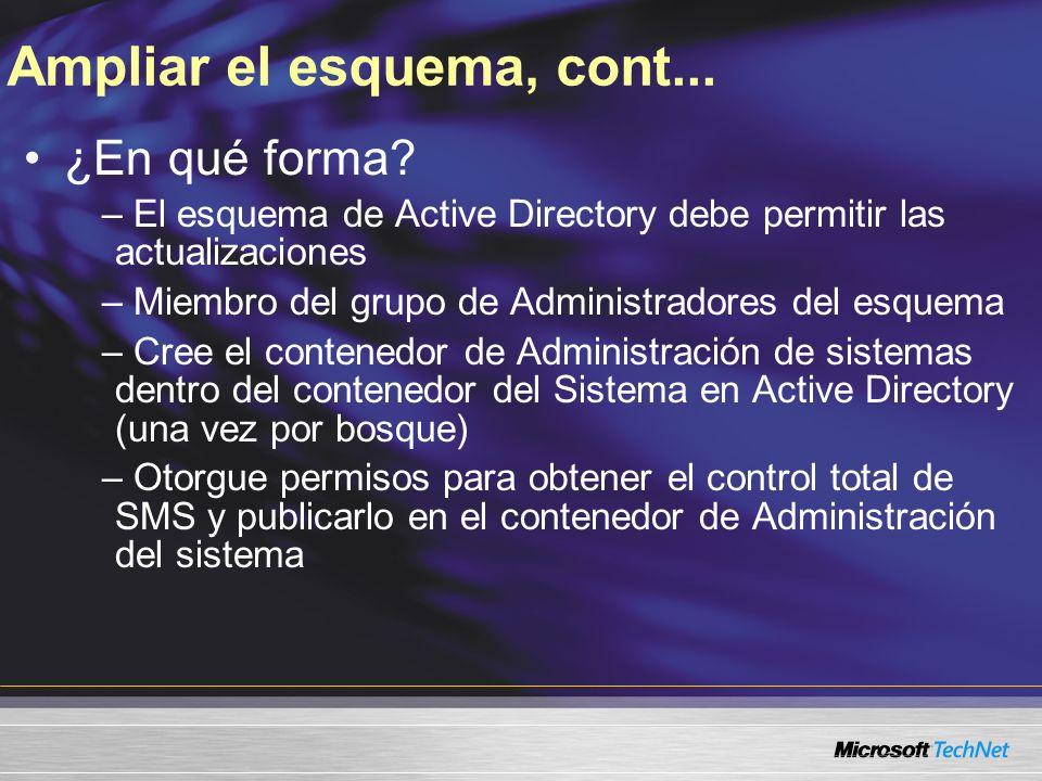Ampliar el esquema, cont... ¿En qué forma? – El esquema de Active Directory debe permitir las actualizaciones – Miembro del grupo de Administradores d