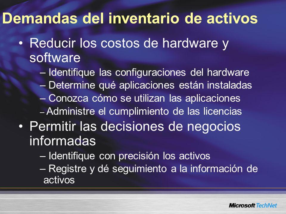 Reducir los costos de hardware y software – Identifique las configuraciones del hardware – Determine qué aplicaciones están instaladas – Conozca cómo